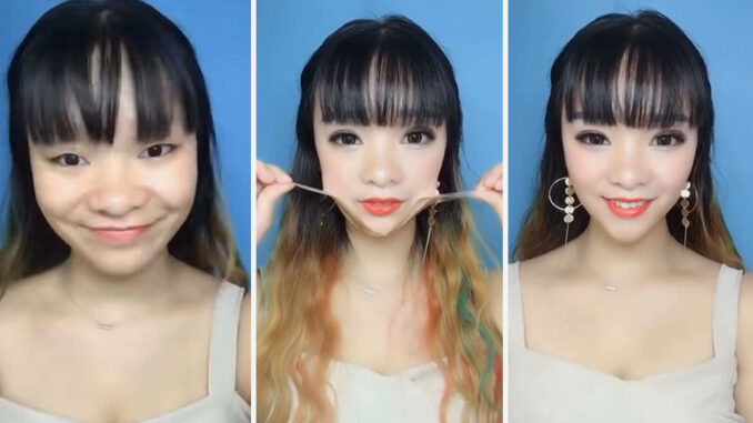 Sculpted faces Asians use tweezers and scissors to remove their stunning video makeup 5b39d924d601b  880